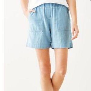 J. Jill indigo double cloth shorts Hampton wash